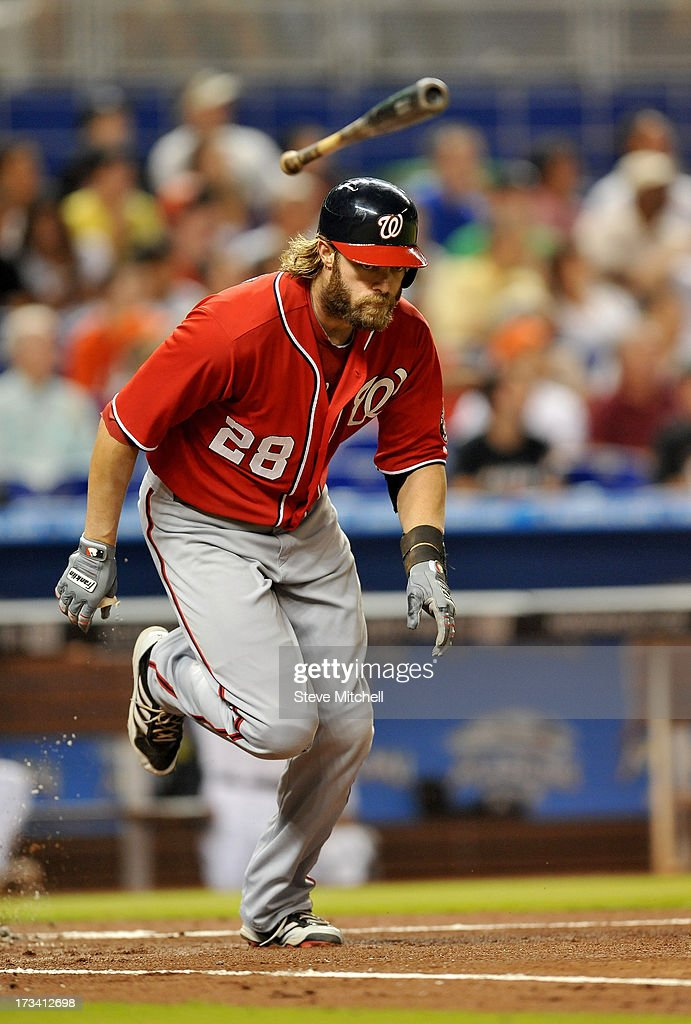 <a gi-track='captionPersonalityLinkClicked' href=/galleries/search?phrase=Jayson+Werth&family=editorial&specificpeople=206490 ng-click='$event.stopPropagation()'>Jayson Werth</a> #28 of the Washington Nationals flips his bat after flying out to left field in the second inning against the Miami Marlins at Marlins Park on July 13, 2013 in Miami, Florida.