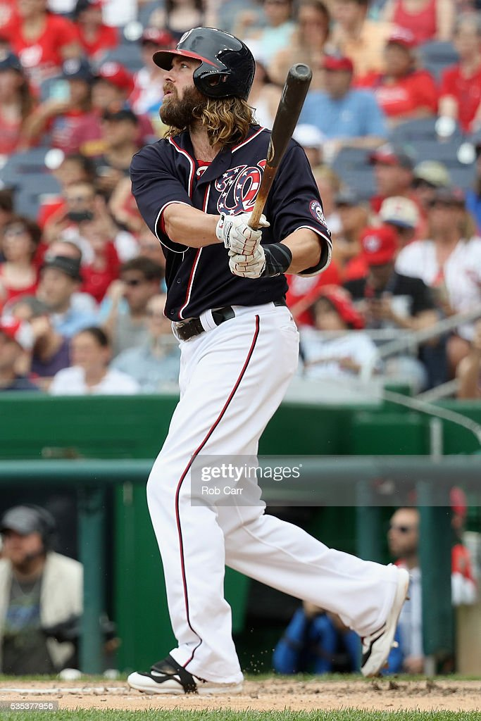 <a gi-track='captionPersonalityLinkClicked' href=/galleries/search?phrase=Jayson+Werth&family=editorial&specificpeople=206490 ng-click='$event.stopPropagation()'>Jayson Werth</a> #28 of the Washington Nationals follows his grand slam in the seventh inning against the St. Louis Cardinals at Nationals Park on May 29, 2016 in Washington, DC.
