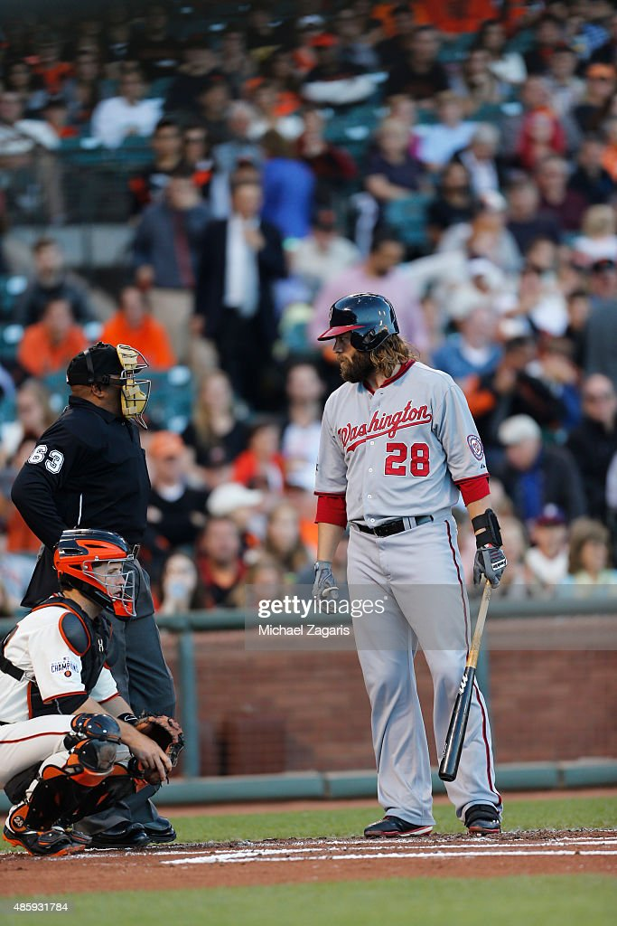 Jayson Werth of the Washington Nationals has words with Umpire Laz Diaz during the game against the San Francisco Giants at ATT Park on August 13...
