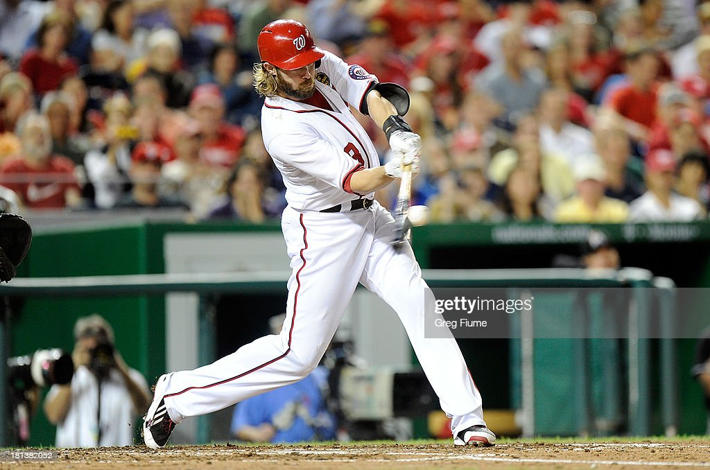 <a gi-track='captionPersonalityLinkClicked' href=/galleries/search?phrase=Jayson+Werth&family=editorial&specificpeople=206490 ng-click='$event.stopPropagation()'>Jayson Werth</a> #28 of the Washington Nationals hits a double in the sixth inning against the Miami Marlins at Nationals Park on September 20, 2013 in Washington, DC.