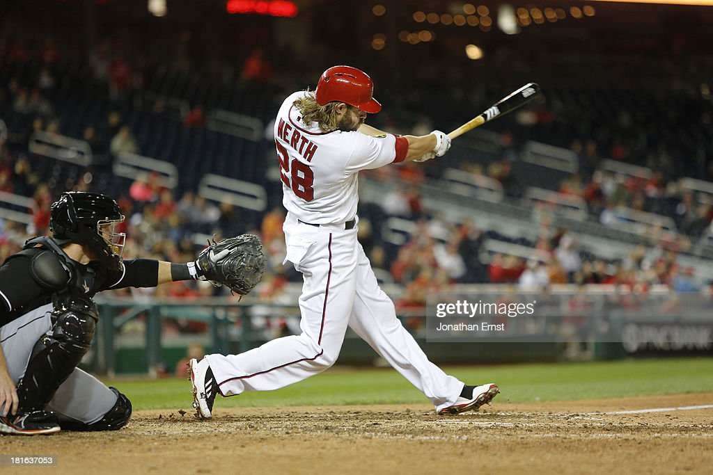 <a gi-track='captionPersonalityLinkClicked' href=/galleries/search?phrase=Jayson+Werth&family=editorial&specificpeople=206490 ng-click='$event.stopPropagation()'>Jayson Werth</a> #28 of the Washington Nationals hits a leadoff double against the Miami Marlins int he ninth inning of game 2 of their day-night doubleheader at Nationals Park on September 22, 2013 in Washington, DC. A pinch runner for Werth, Eury Perez, would score laterin the inning for a walk-off, 5-4 win.