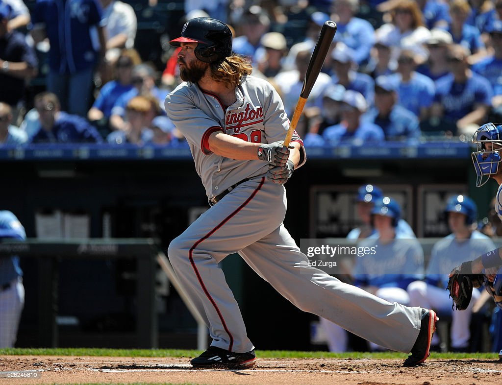 <a gi-track='captionPersonalityLinkClicked' href=/galleries/search?phrase=Jayson+Werth&family=editorial&specificpeople=206490 ng-click='$event.stopPropagation()'>Jayson Werth</a> #28 of the Washington Nationals hits a RBI double in the first inning against the Kansas City Royals at Kauffman Stadium on May 4, 2016 in Kansas City, Missouri.