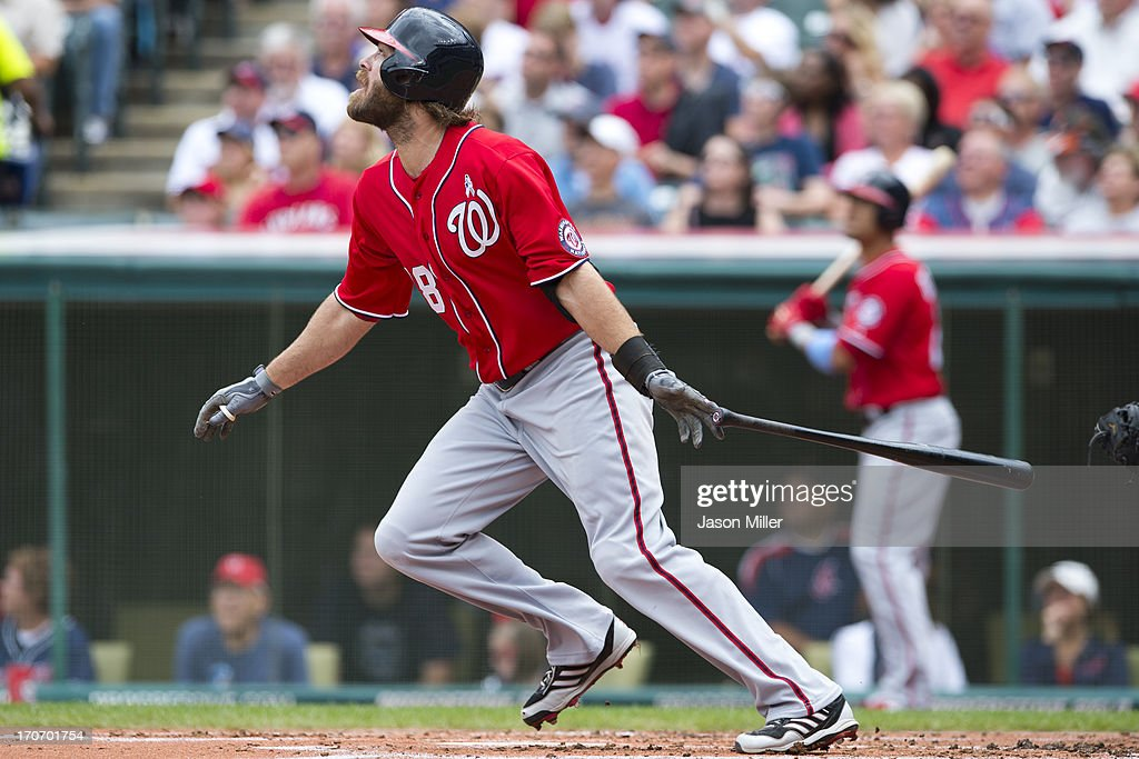 <a gi-track='captionPersonalityLinkClicked' href=/galleries/search?phrase=Jayson+Werth&family=editorial&specificpeople=206490 ng-click='$event.stopPropagation()'>Jayson Werth</a> #28 of the Washington Nationals hits a single during the second inning against the Cleveland Indians at Progressive Field on June 16, 2013 in Cleveland, Ohio.