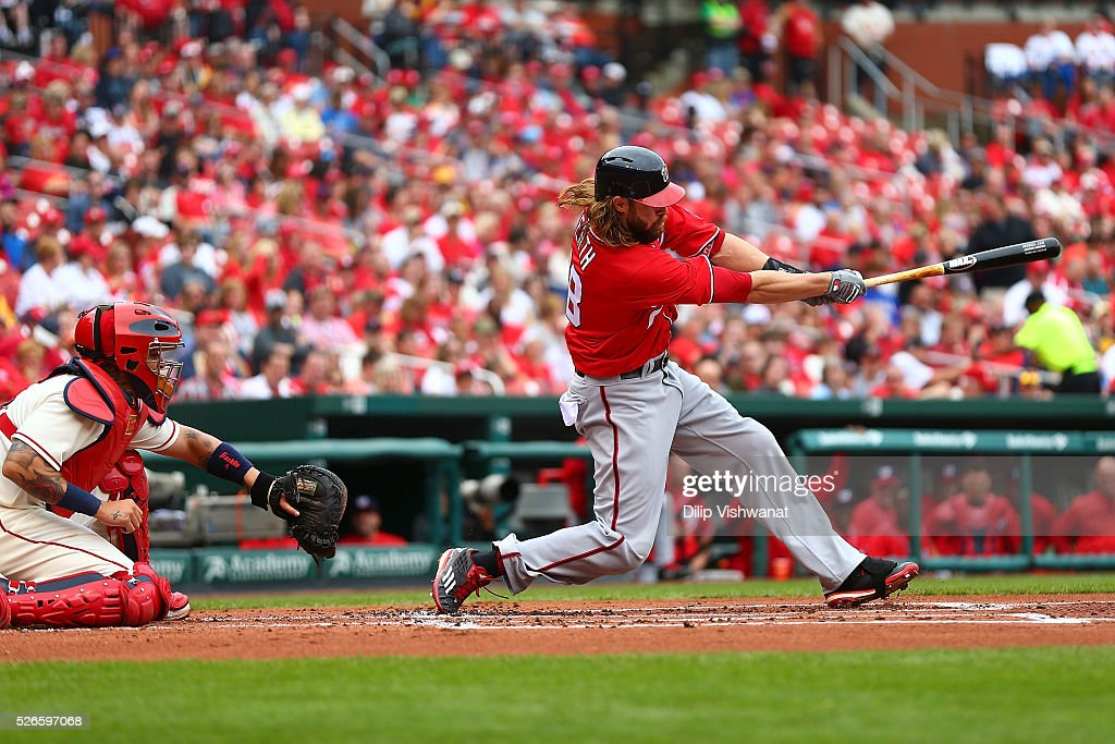 <a gi-track='captionPersonalityLinkClicked' href=/galleries/search?phrase=Jayson+Werth&family=editorial&specificpeople=206490 ng-click='$event.stopPropagation()'>Jayson Werth</a> #28 of the Washington Nationals hits a three-run home run against the St. Louis Cardinals in the first inning at Busch Stadium on April 30, 2016 in St. Louis, Missouri.