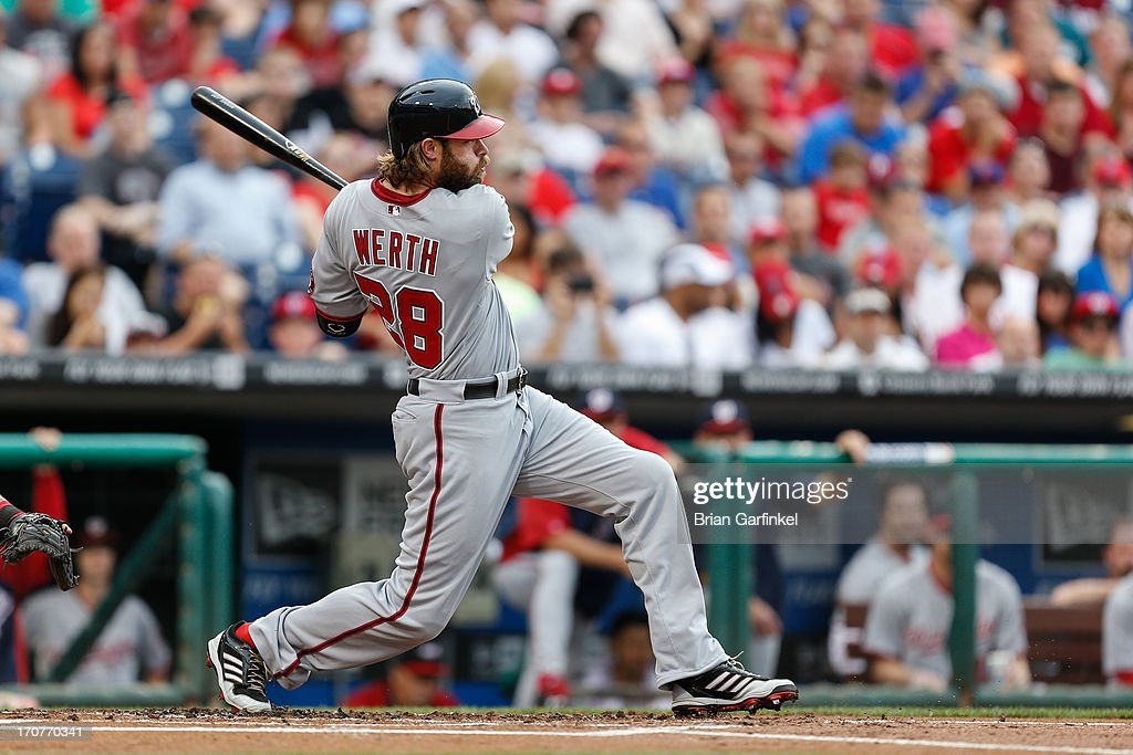 <a gi-track='captionPersonalityLinkClicked' href=/galleries/search?phrase=Jayson+Werth&family=editorial&specificpeople=206490 ng-click='$event.stopPropagation()'>Jayson Werth</a> #28 of the Washington Nationals hits an RBI single in the first inning of the game against the Philadelphia Phillies at Citizens Bank Park on June 17, 2013 in Philadelphia, Pennsylvania.