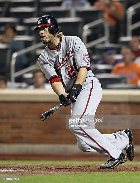 Jayson Werth of the Washington Nationals in action against the New York Mets at Citi Field on September 12 2011 in the Flushing neighborhood of the...