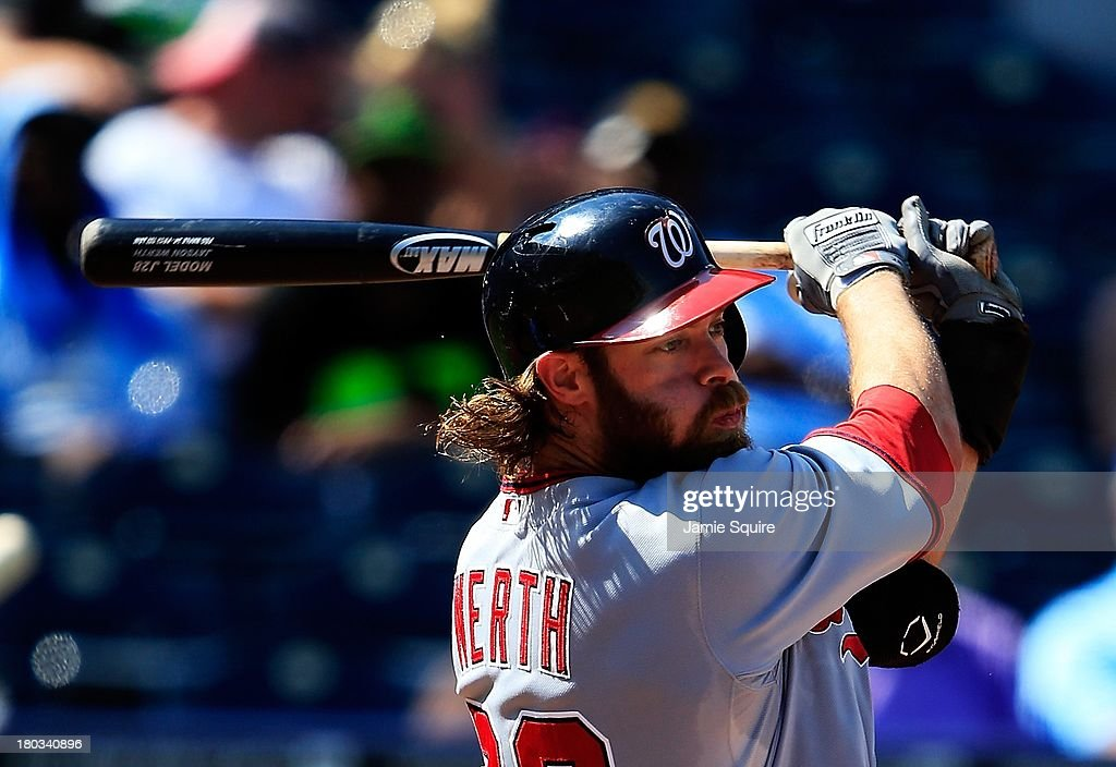 <a gi-track='captionPersonalityLinkClicked' href=/galleries/search?phrase=Jayson+Werth&family=editorial&specificpeople=206490 ng-click='$event.stopPropagation()'>Jayson Werth</a> #28 of the Washington Nationals in action during the game against the Kansas City Royals at Kauffman Stadium on August 25, 2013 in Kansas City, Missouri.