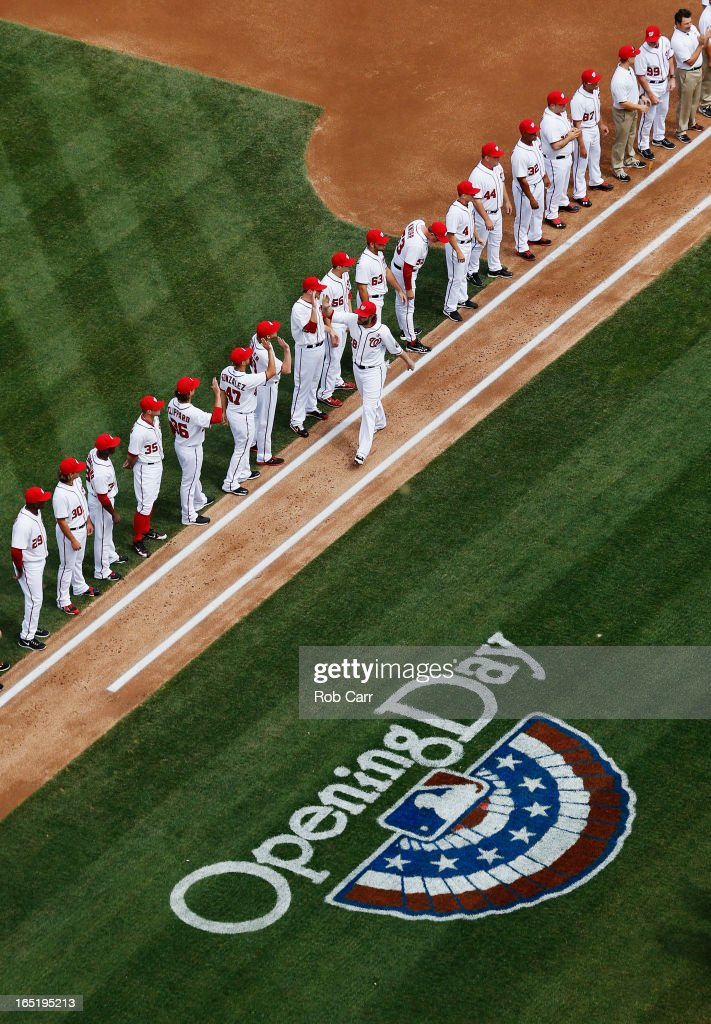 <a gi-track='captionPersonalityLinkClicked' href=/galleries/search?phrase=Jayson+Werth&family=editorial&specificpeople=206490 ng-click='$event.stopPropagation()'>Jayson Werth</a> #28 of the Washington Nationals is introduced before the start of the Nationals opening day game against the Miami Marlins Nationals Park on April 1, 2013 in Washington, DC.