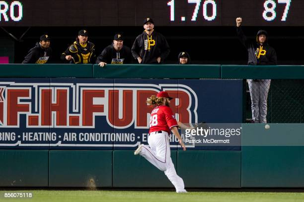 Jayson Werth of the Washington Nationals is unable to catch a threerun RBI triple hit by Max Moroff of the Pittsburgh Pirates in the ninth inning at...