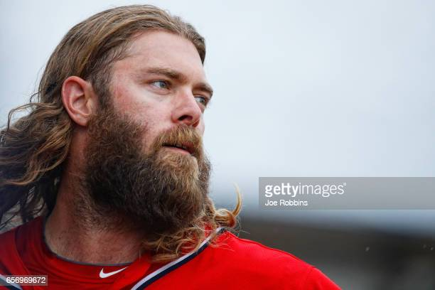 Jayson Werth of the Washington Nationals looks on after grounding out in the fifth inning of a Grapefruit League spring training game against the New...