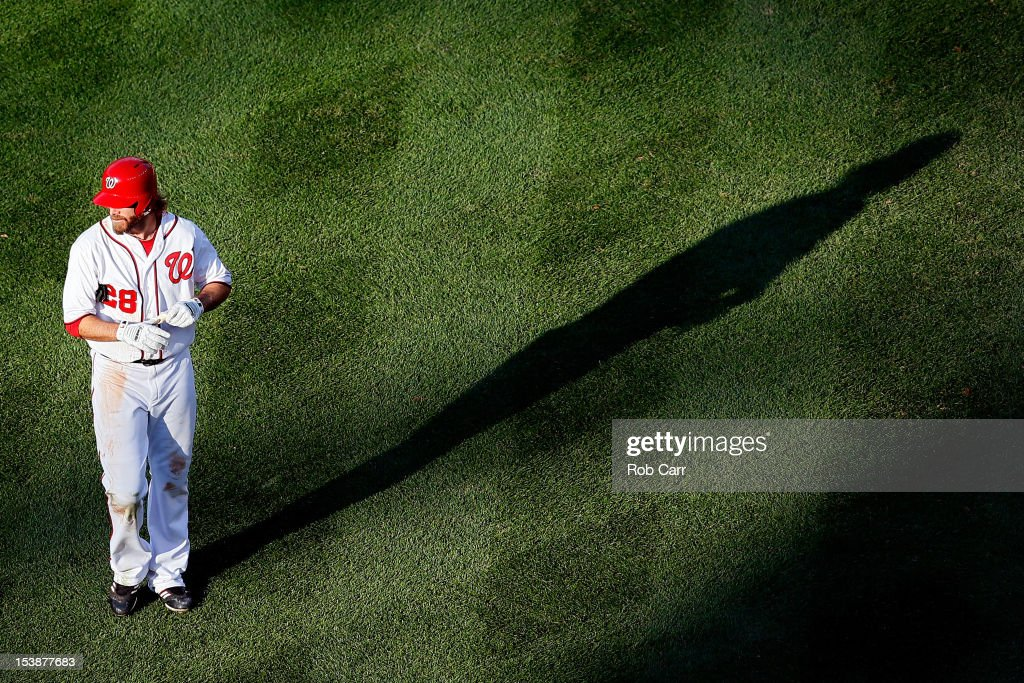 <a gi-track='captionPersonalityLinkClicked' href=/galleries/search?phrase=Jayson+Werth&family=editorial&specificpeople=206490 ng-click='$event.stopPropagation()'>Jayson Werth</a> #28 of the Washington Nationals looks on after making the last out of the game against the St. Louis Cardinals during Game Three of the National League Division Series at Nationals Park on October 10, 2012 in Washington, DC.