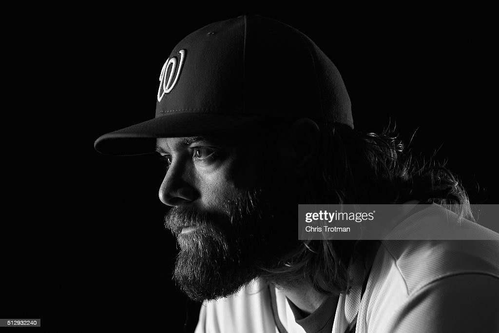 Jayson Werth #28 of the Washington Nationals poses for a portrait at Spring Training photo day at Space Coast Stadium on February 28, 2016 in Viera, Florida.