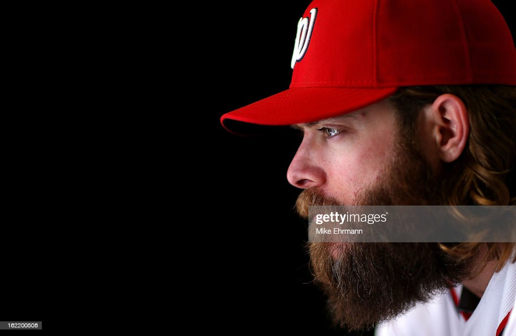 <a gi-track='captionPersonalityLinkClicked' href=/galleries/search?phrase=Jayson+Werth&family=editorial&specificpeople=206490 ng-click='$event.stopPropagation()'>Jayson Werth</a> #28 of the Washington Nationals poses for a portrait during photo day at Space Coast Stadium on February 20, 2013 in Viera, Florida.