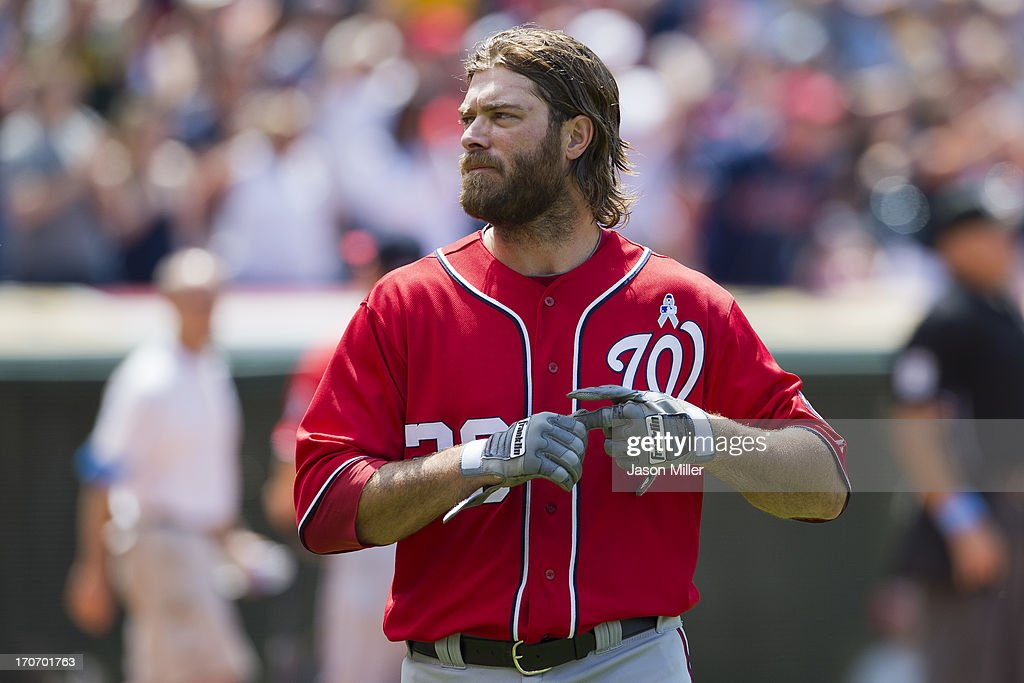 <a gi-track='captionPersonalityLinkClicked' href=/galleries/search?phrase=Jayson+Werth&family=editorial&specificpeople=206490 ng-click='$event.stopPropagation()'>Jayson Werth</a> #28 of the Washington Nationals reacts after being stranded at third during the seventh inning against the Cleveland Indians at Progressive Field on June 16, 2013 in Cleveland, Ohio.
