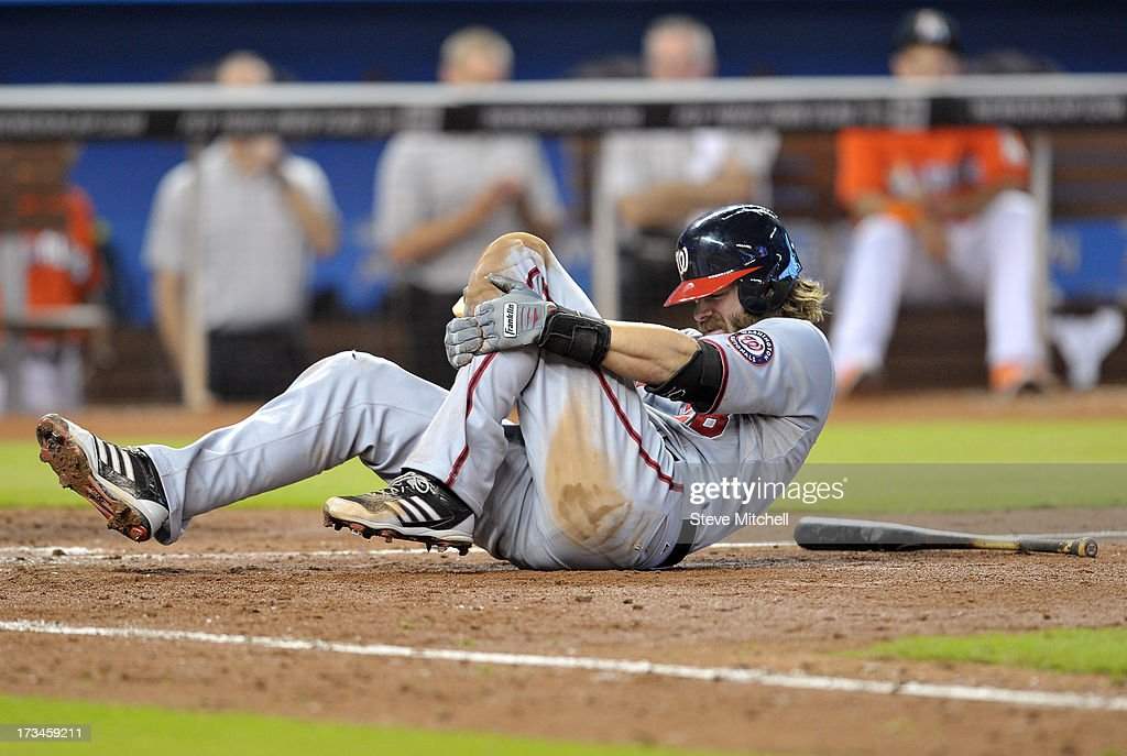 Jayson Werth #28 of the Washington Nationals reacts after fouling off a pitch during the sixth inning against the Miami Marlins at Marlins Park on July 14, 2013 in Miami, Florida.