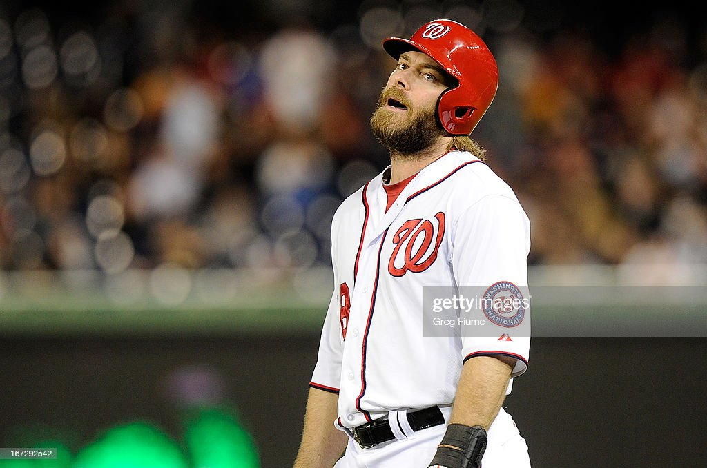 <a gi-track='captionPersonalityLinkClicked' href=/galleries/search?phrase=Jayson+Werth&family=editorial&specificpeople=206490 ng-click='$event.stopPropagation()'>Jayson Werth</a> #28 of the Washington Nationals reacts after grounding out to end the eighth inning against the St. Louis Cardinals at Nationals Park on April 23, 2013 in Washington, DC.