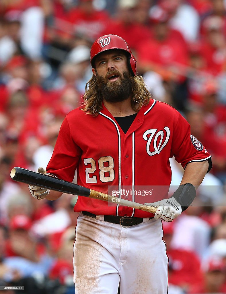 Jayson Werth #28 of the Washington Nationals reacts after striking out in the fourth inning against the San Francisco Giants during Game One of the National League Division Series at Nationals Park on October 3, 2014 in Washington, DC.