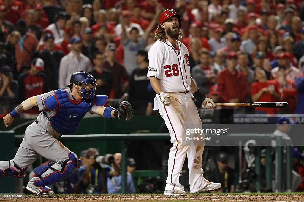 Jayson Werth #28 of the Washington Nationals reacts after striking out for the final out of the ninth inning to be defeated by the Los Angeles Dodgers 4-3 in game one of the National League Division Series at Nationals Park on October 7, 2016 in Washington, DC.