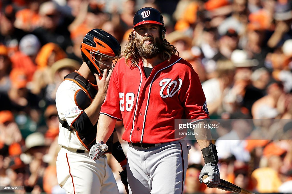 Jayson Werth #28 of the Washington Nationals reacts as he strikes out in the first inning against the San Francisco Giants during Game Three of the National League Division Series at AT&T Park on October 6, 2014 in San Francisco, California.