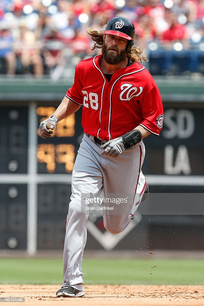 <a gi-track='captionPersonalityLinkClicked' href=/galleries/search?phrase=Jayson+Werth&family=editorial&specificpeople=206490 ng-click='$event.stopPropagation()'>Jayson Werth</a> #28 of the Washington Nationals rounds the bases after hitting a three run home run in the first inning of the game against the Philadelphia Phillies at Citizens Bank Park on July 13, 2014 in Philadelphia, Pennsylvania.