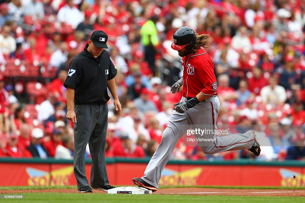 <a gi-track='captionPersonalityLinkClicked' href=/galleries/search?phrase=Jayson+Werth&family=editorial&specificpeople=206490 ng-click='$event.stopPropagation()'>Jayson Werth</a> #28 of the Washington Nationals rounds third base after hitting a three-run home run against the St. Louis Cardinals in the first inning at Busch Stadium on April 30, 2016 in St. Louis, Missouri.
