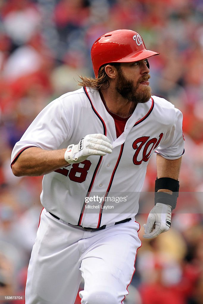 Jayson Werth #28 of the Washington Nationals runs to first base during a baseball game against the Philadelphia Phillies on October 3, 2012 at Nationals Park in Washington, DC. The Nationals won 5-1.