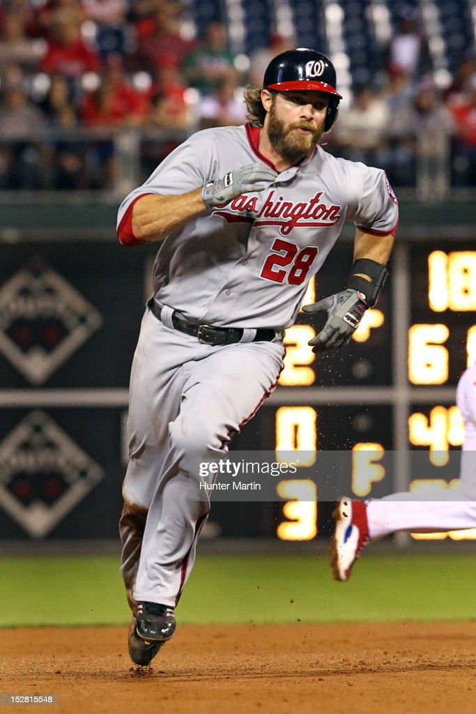 <a gi-track='captionPersonalityLinkClicked' href=/galleries/search?phrase=Jayson+Werth&family=editorial&specificpeople=206490 ng-click='$event.stopPropagation()'>Jayson Werth</a> #28 of the Washington Nationals runs to third base during a game against the Philadelphia Phillies at Citizens Bank Park on September 26, 2012 in Philadelphia, Pennsylvania. The Nationals won 8-4.