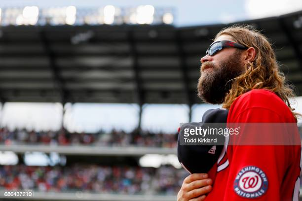 Jayson Werth of the Washington Nationals stands as God Bless America is performed in an MLB game against the Washington Nationals at SunTrust Park on...