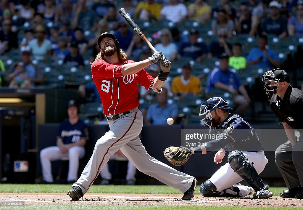 Jayson Werth #28 of the Washington Nationals strikes out in the first inning against the Milwaukee Brewers at Miller Park on June 26, 2016 in Milwaukee, Wisconsin.