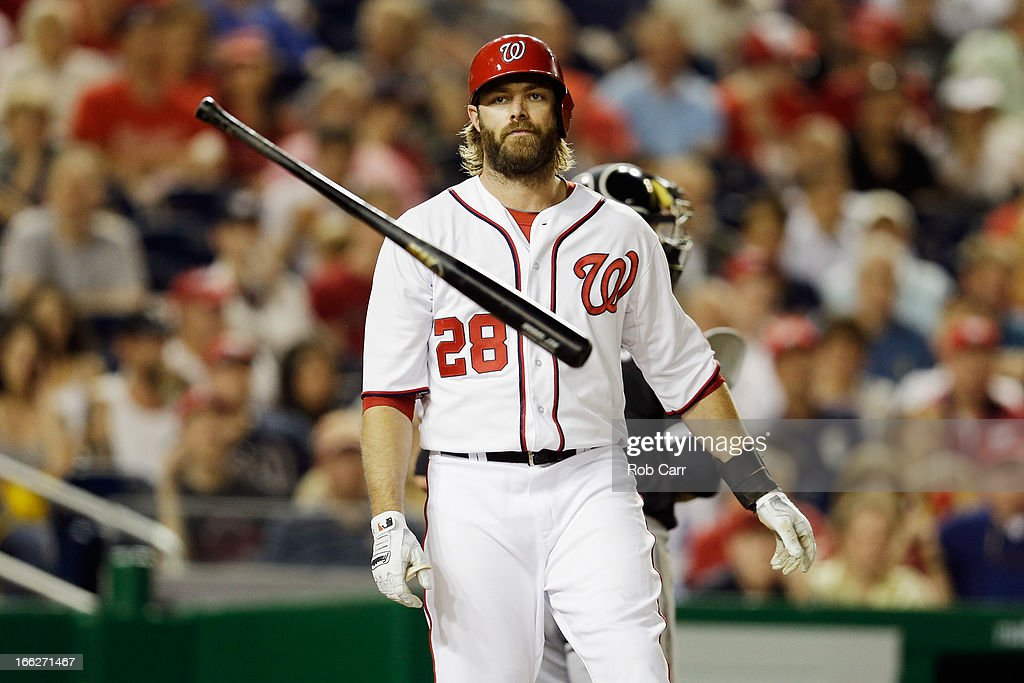 <a gi-track='captionPersonalityLinkClicked' href=/galleries/search?phrase=Jayson+Werth&family=editorial&specificpeople=206490 ng-click='$event.stopPropagation()'>Jayson Werth</a> #28 of the Washington Nationals tosses his bat after striking out against the Chicago White Sox at Nationals Park on April 10, 2013 in Washington, DC.
