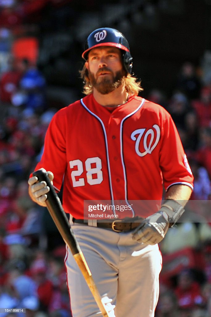 Jayson Werth #28 of the Washington Nationals walks back to the dug out during Game One of the National League Division Series against the St. Louis Cardinals at Busch Stadium on October 7, 2012 in St Louis, Missouri. The Nationals won 3-2.