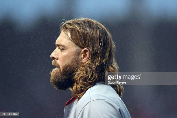 Jayson Werth of the Washington Nationals walks to the dugout during game four of the National League Division Series against the Chicago Cubs at...