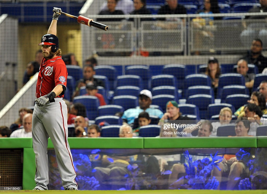 <a gi-track='captionPersonalityLinkClicked' href=/galleries/search?phrase=Jayson+Werth&family=editorial&specificpeople=206490 ng-click='$event.stopPropagation()'>Jayson Werth</a> #28 of the Washington Nationals warms up from the on-deck circle during the sixth inning against the Miami Marlins at Marlins Park on July 13, 2013 in Miami, Florida.