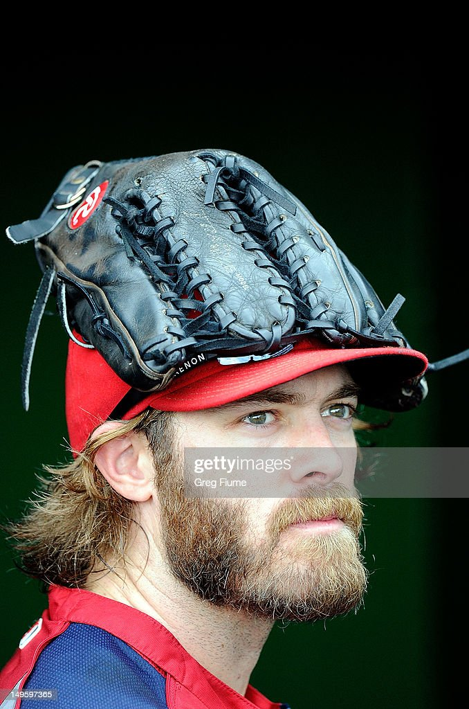 Jayson Werth #28 of the Washington Nationals watches batting practice before the game against the Philadelphia Phillies at Nationals Park on July 31, 2012 in Washington, DC.