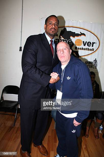 Jayson Williams and Steve Lobel attend the 2012 High School Basketball Showcase at Bedford Academy on November 24 2012 in the Brooklyn borough of New...