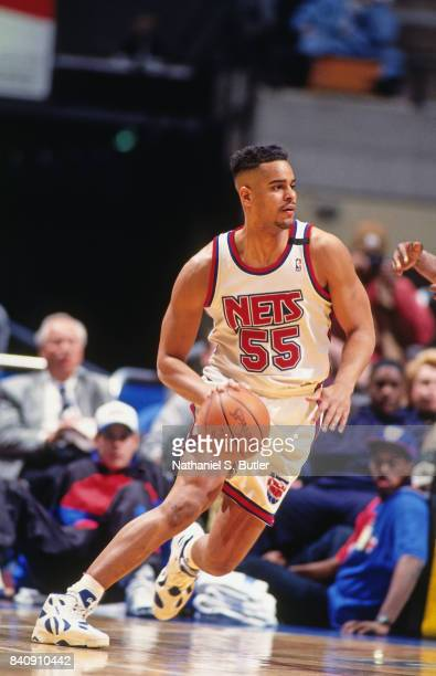 Jayson Williams of the New Jersey Nets dribbles circa 1994 at the Continental Airlines Arena in East Rutherford New Jersey NOTE TO USER User...