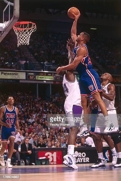 Jayson Williams of the New Jersey Nets shoots the ball against the Sacramento Kings on November 23 1994 at Arco Arena in Sacramento California NOTE...