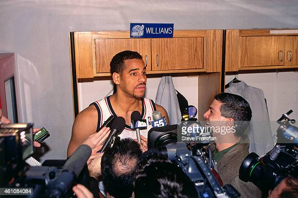 Jayson Williams of the New Jersey Nets talks to the media during the 1998 NBA AllStar Game played on February 8 1998 at Madison Square Garden in New...