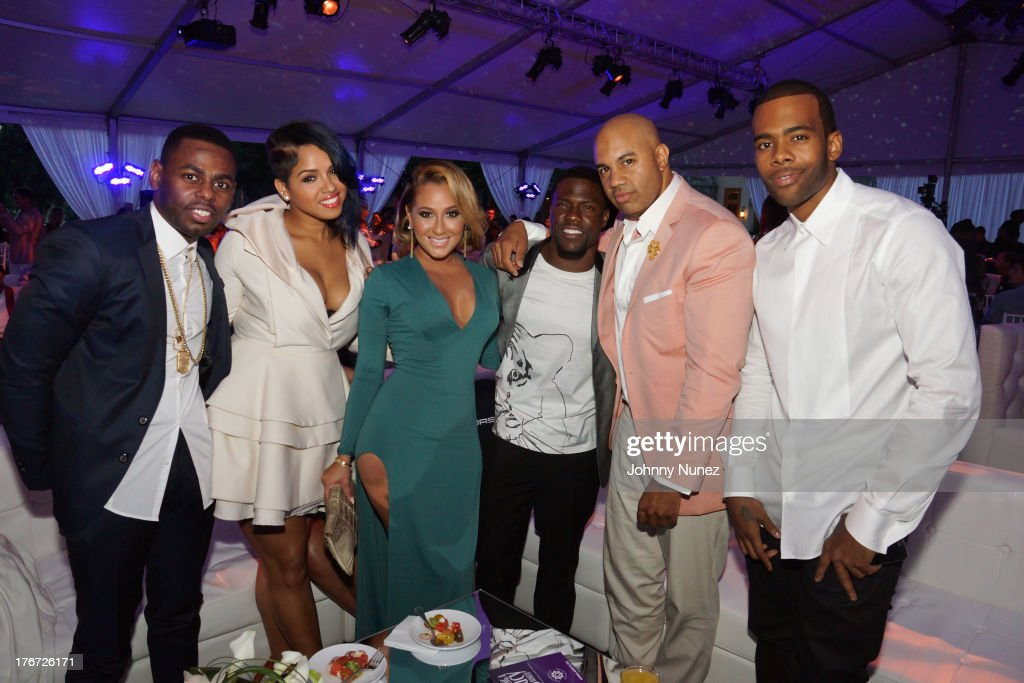 Jayvon Smith, RaVaughn, <a gi-track='captionPersonalityLinkClicked' href=/galleries/search?phrase=Adrienne+Bailon&family=editorial&specificpeople=540286 ng-click='$event.stopPropagation()'>Adrienne Bailon</a>, Kevin Hart, Lenny S., and Mario attend the 2nd annual Compound Foundation Fostering A Legacy Benefit on August 17, 2013 in East Hampton, New York.
