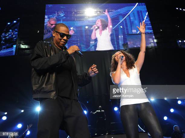 JayZ and Alicia Keys perform at Madison Square Garden on March 17 2010 in New York City