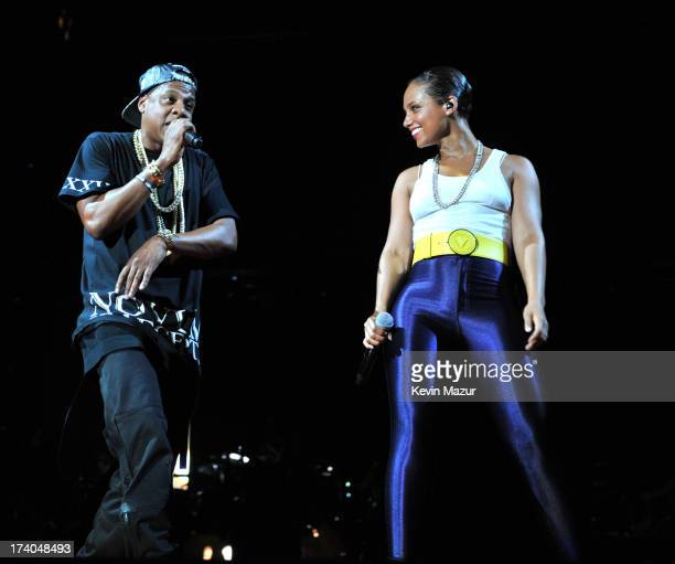JayZ and Alicia Keys perform during the Legends of the Summer tour at Yankee Stadium on July 19 2013 in New York United States