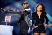 JayZ and Alicia Keys perform on stage during The Brit Awards 2010 at Earls Court One on February 16 2010 in London England