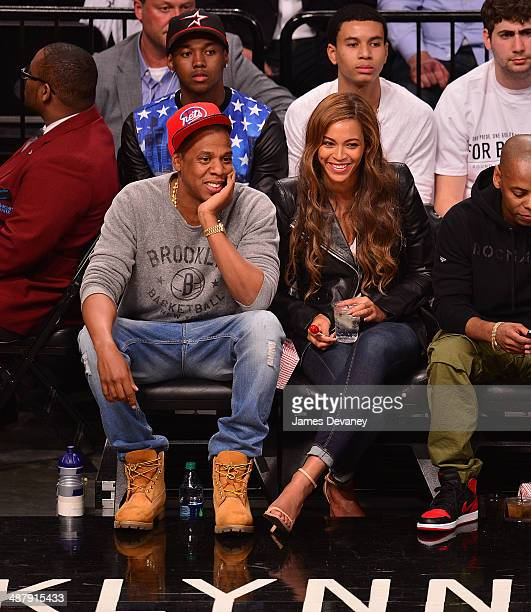 JayZ and Beyonce attend the Toronto Raptors vs Brooklyn Nets game at Barclays Center on May 2 2014 in the Brooklyn borough of New York City