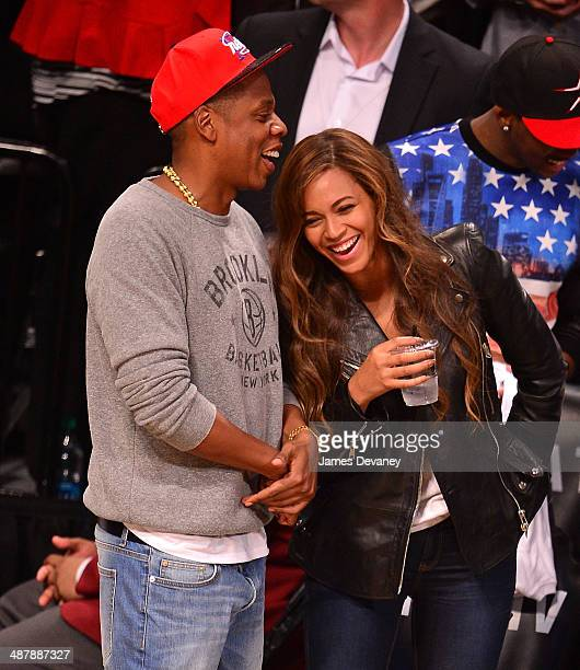 JayZ and Beyonce attends the Toronto Raptors vs Brooklyn Nets game at Barclays Center on May 2 2014 in the Brooklyn borough of New York City