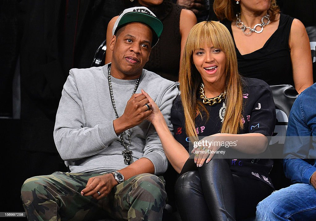 Jay-Z and Beyonce Knowles attend the New York Knicks v Brooklyn Nets game at Barclays Center on November 26, 2012 in the Brooklyn borough of New York City.