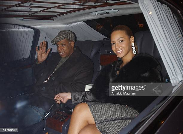 JayZ and Beyonce Knowles leave Ciprianis Restaraunt on West Broadway on November 26 2004 in New York City