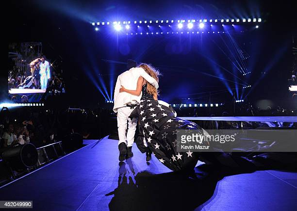 JayZ and Beyonce perform during the 'On The Run Tour Beyonce And JayZ' at MetLife Stadium on July 11 2014 in East Rutherford New Jersey