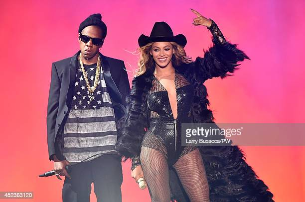 JayZ and Beyonce perform during the 'On The Run Tour Beyonce And JayZ' at Minute Maid Park on July 18 2014 in Houston Texas