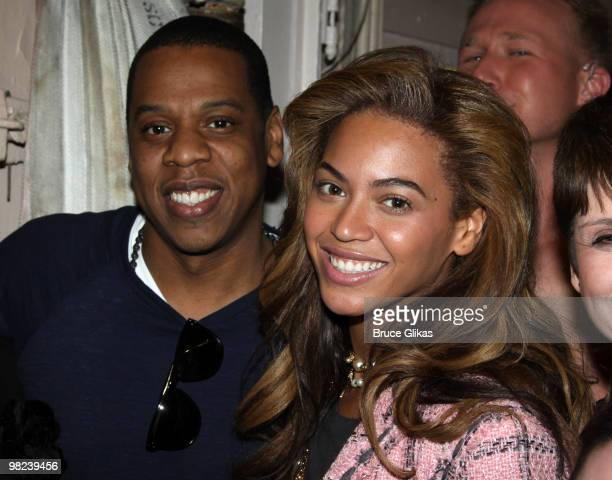 **EXCLUSIVE** JayZ and Beyonce pose backstage at the musical 'Chicago' on Broadway at the Ambassador Theater on April 3 2010 in New York City
