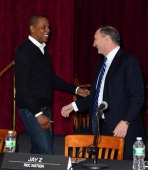 JayZ and Bruce Ratner attend Nassau Veterans Memorial Coliseum Presentation at Nassau County Police Department Headquarters on May 2 2013 in Mineola...